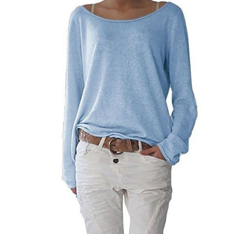 ALI shop ...  ... 32964925108 ... 2 ... Newly Women Autumn T-shirts Long Sleeves Big Round Neck Pullover Loose Slim Fit Tops ...