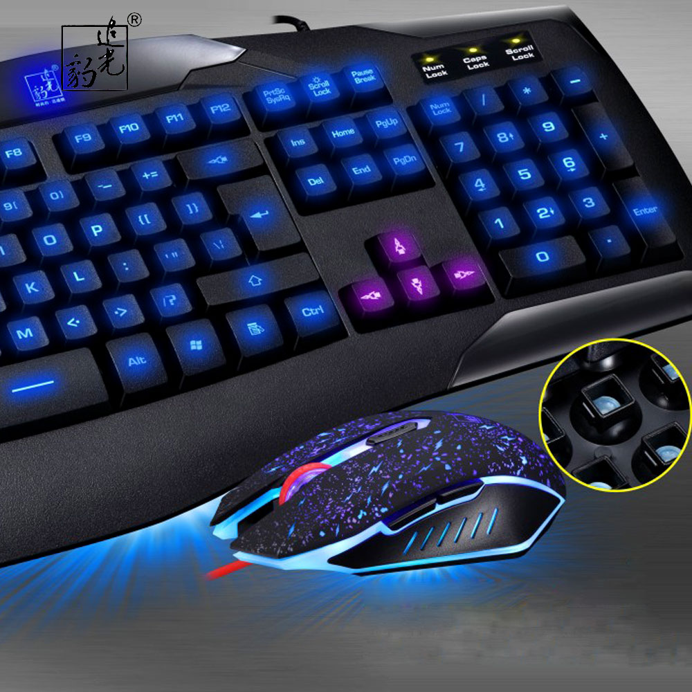 ZGB G12 USB Wired Mechanical Keyboard Black Gamer Keyboard with RGB Backlight 104 Keys for PC Computer Gaming Keyboard Mouse set