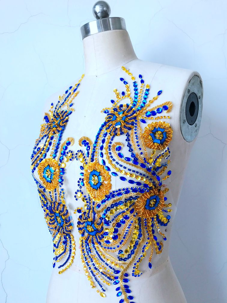 Pure hand made blue golden sew on Rhinestones applique on mesh crystals patches 41 39cm DIY