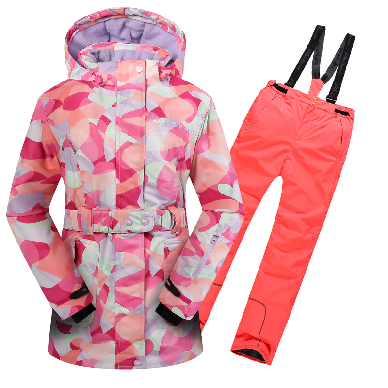 new  Winter Fleece Warm Ski Suit girls Waterproof Mountain Skiing Jacket Coat + Bib Pants Children Kids Snowboard Snow Clothing картридж t2 ic b985m для brother dcp j125 j315w j515w mfc j220 j265w j410 пурпурный