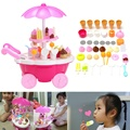 Lovely Electric Candy Ice Cream Car Cart Trolley Flashing Light Musical Kids Toy For Children Role Pretend Playing Toys Gift
