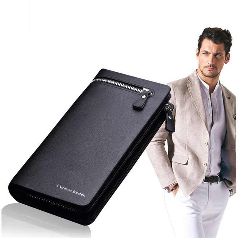 Новый двойной мужской кошелек брендовый известный мужской кожаный Длинный кошелек клатч мужской кошелек ID Card Holder Carteira Masculina