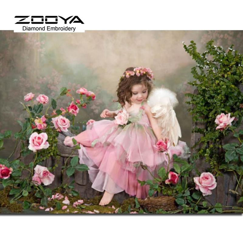 5D DIY Diamond Painting Baby Girl Diamond Painting Cross Stitch Garden Angel Diamond Embroidery Home Decoration CJ294