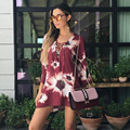 2017 primavera mulheres dress floral vermelho impresso manga comprida dress oco out sexy mini dress for women robe