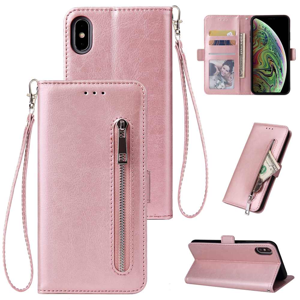 For iPhone 6 6S 7 8 Plus X XR XS Max Wallet Leather Case fashion zipper Flip Stand for iPhone 11Pro Max Cover Mobile Phone Bag(China)