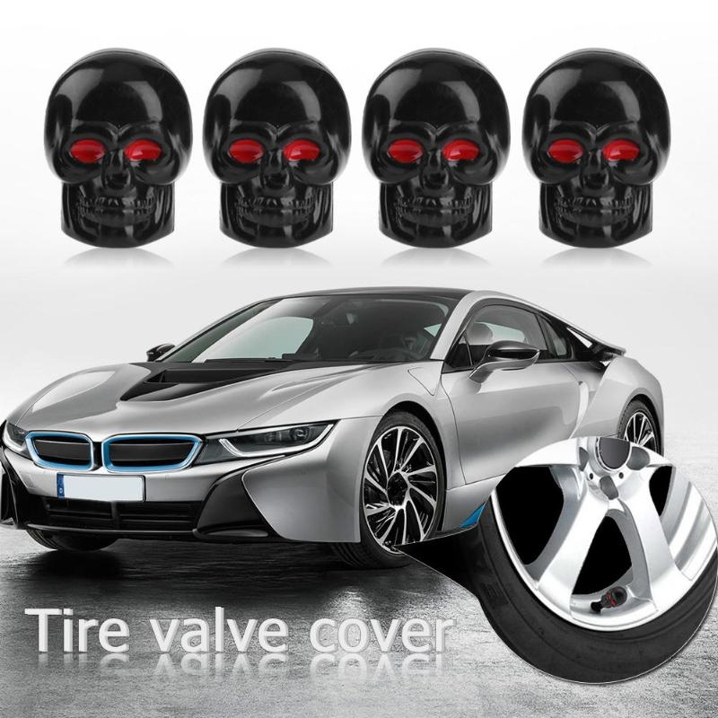VODOOL 4Pcs Universal Skull Valve Cap Car Motorcycle Bike Wheel Tire Tyre Valve Stem Caps Dust Covers Car Styling Accessories