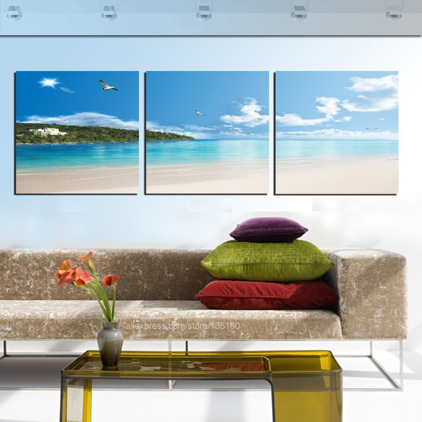 Modern Home Decor 3 Piece Wall Art Canvas Painting Tropical Seascape Coastal Beach Beautiful Pictures Print