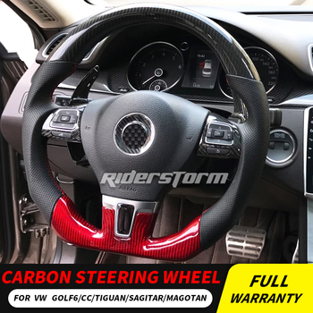 High Quality 3D Carbon Fiber+Leather Steering Wheel Customization Tuning for Golf MK6 GTI POLO Passat CC double D shape STEERING