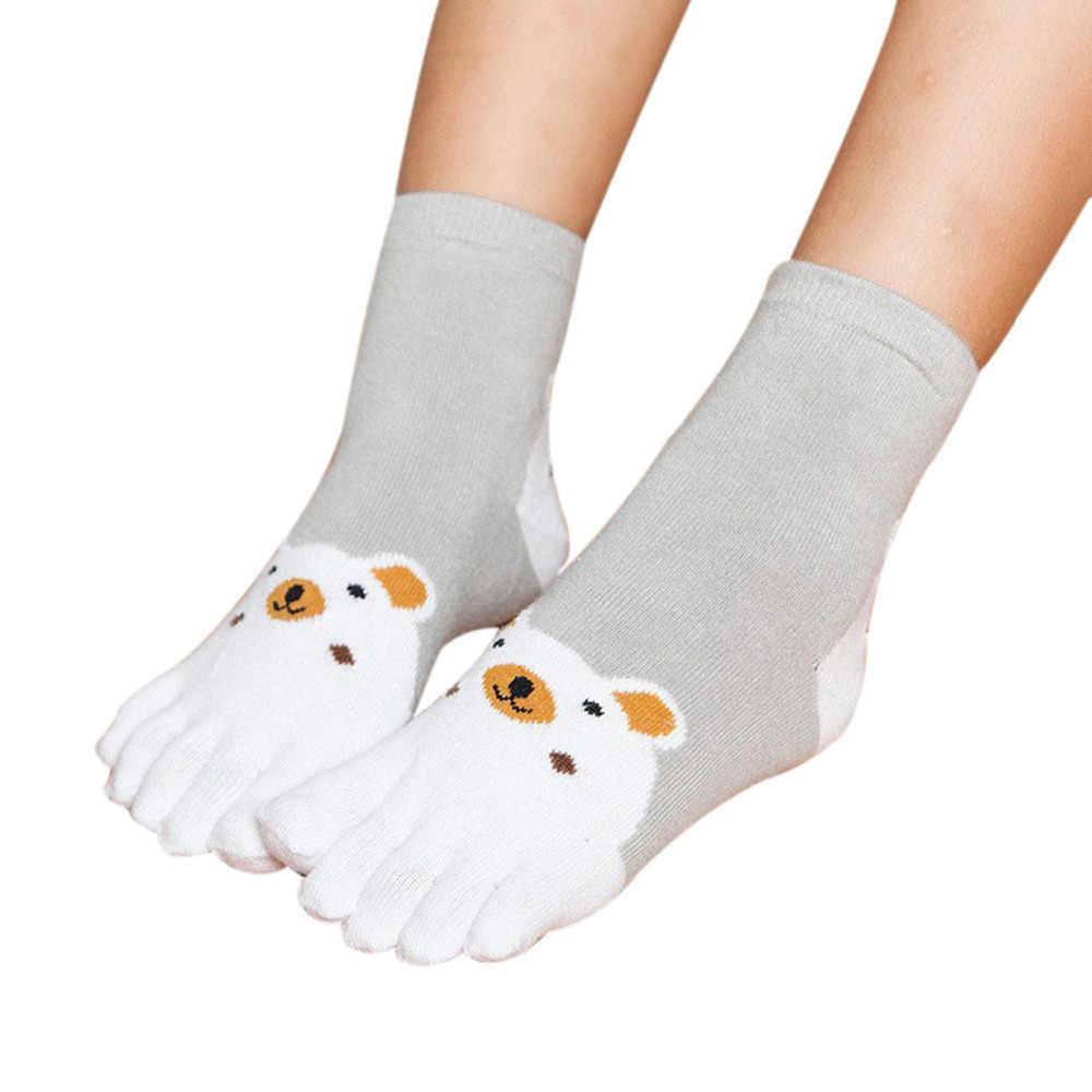 1 пара носков для детей кавайный мультяшный медведь носки с пятью пальцами милые хлопковые носки для мальчиков и девочек