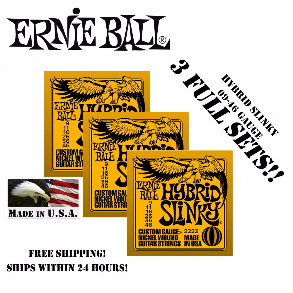 3 Packs! Original Ernie Ball 2222 Hybrid Slinky Electric Guitar Strings Nickel Wound Set, .009 - .046