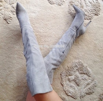 Women Fashionable Light Grey Suede Leather Over The Knee Boots Pointed Toe Side Zipped Shoes Thin High Heel Dress Boots Pumps