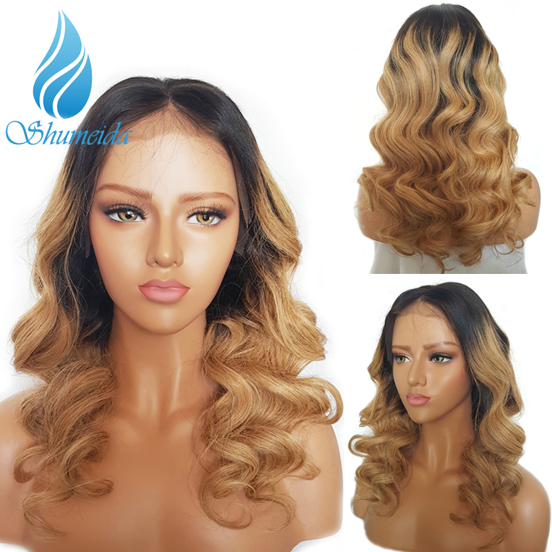 SHD 13 3 Ombre Honey Blonde Lace Front Wigs Baby Hair Brazilian Remy Hair Loose Wave