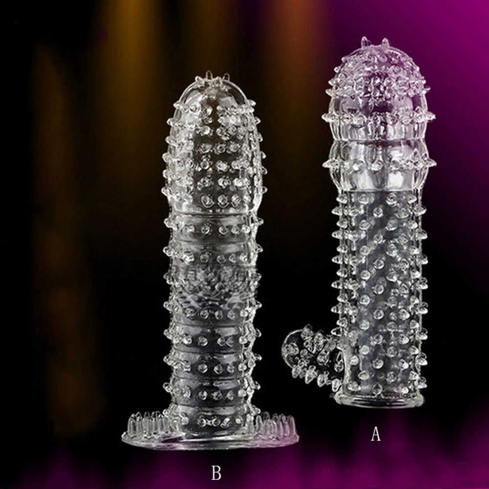 TPE Reusable Condoms Time Delay Crystal Penis Condom Male Penis Extension Sleeves Soft G Point Adult Sex Toys for Men