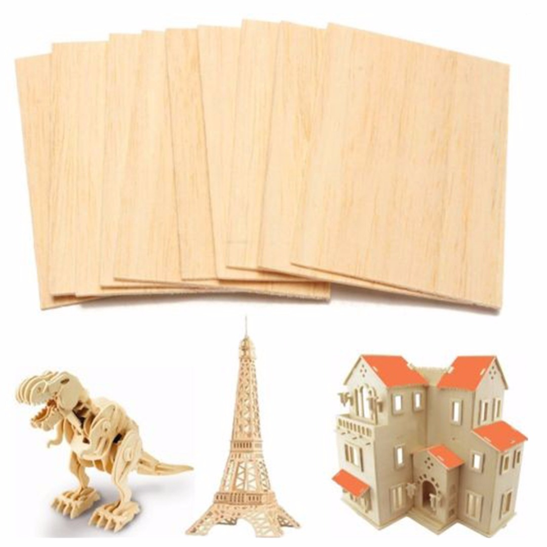 10pcs 150*100*2mm Balsa Wood Sheets Light Weight Wooden Plate Model For DIY House Ship Aircraft Toys Boats