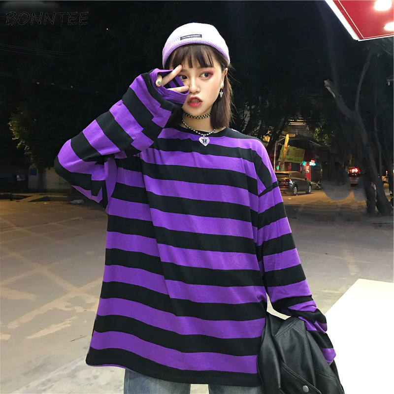 Hoodies Women Striped Long Sleeves O-Neck Loose Womens Hoodie Harajuku Students Simple All-match Leisure Trendy Chic New Kawaii