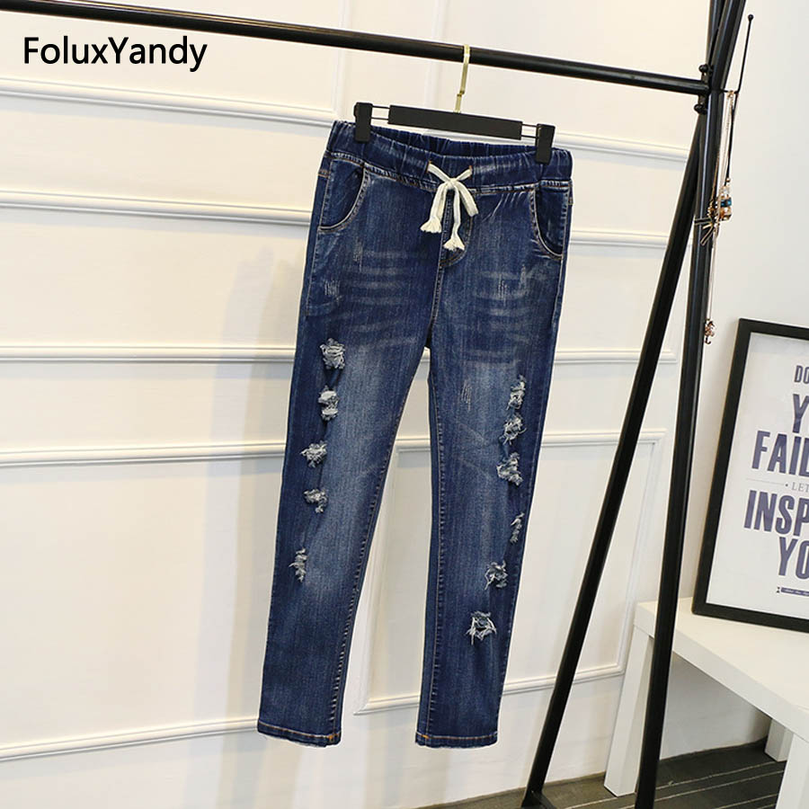 Hole Jeans Women Plus Size 3 4 5 6 XL Casual Pleated Slim Elastic Pencil Pants Denim Trousers Blue SWM502 in Jeans from Women 39 s Clothing