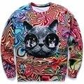 ¡ Nuevo! otoño/Invierno sudaderas 3d mujeres Personalidad Psicodélico gafas cat imprimir fashion lady novedad animal Hoodies 21 Modelos
