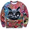 New! Autumn/Winter 3d sweatshirts women Personality Psychedelic glasses cat print fashion lady novelty animal Hoodies 21 Models