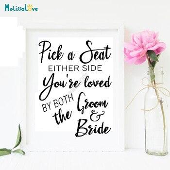 Adhesivo DIY para tablero de boda, adhesivo para señal de recepción, elige un asiento A cada lado que te guste tanto el novio como la decoración para novia B760