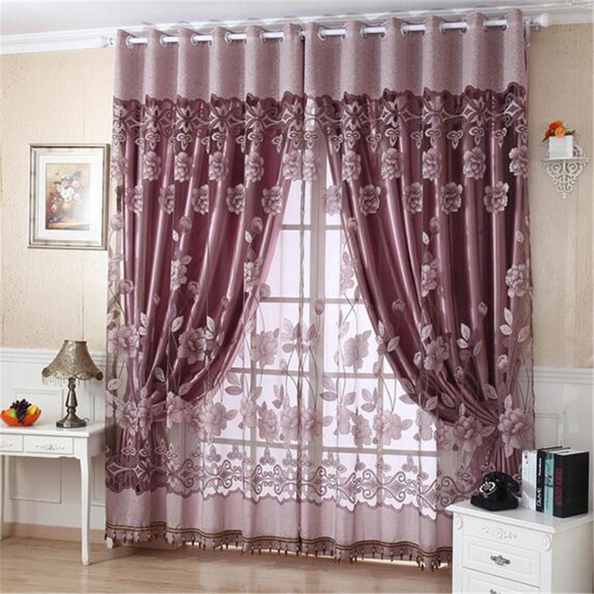 euro style organza tulle cortina puerta cortina de ventana de inicio decorar saln estampado de flores
