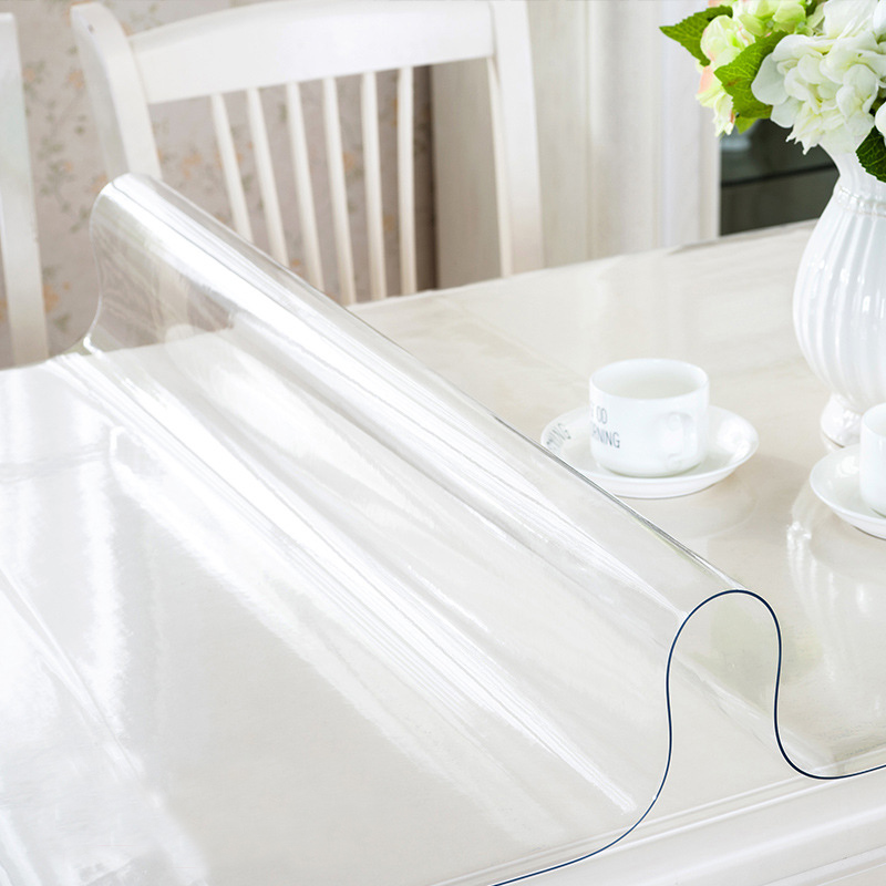 Brand PVC Tablecloth Transparent Waterproof Tablecloth Kitchen Table Crystal Tablecloth Soft Glass Coffee Table table cover in Tablecloths from Home Garden