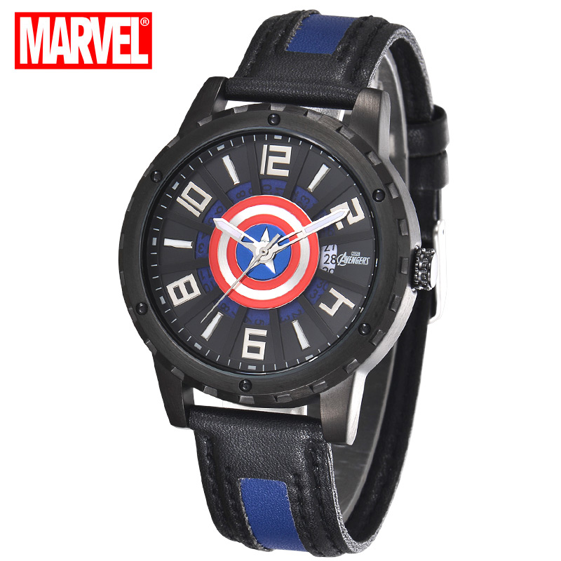100%Authentic Disney watches waterproof casual male young people high quality fashion when Captain America men's watch Gift young people young people all at once