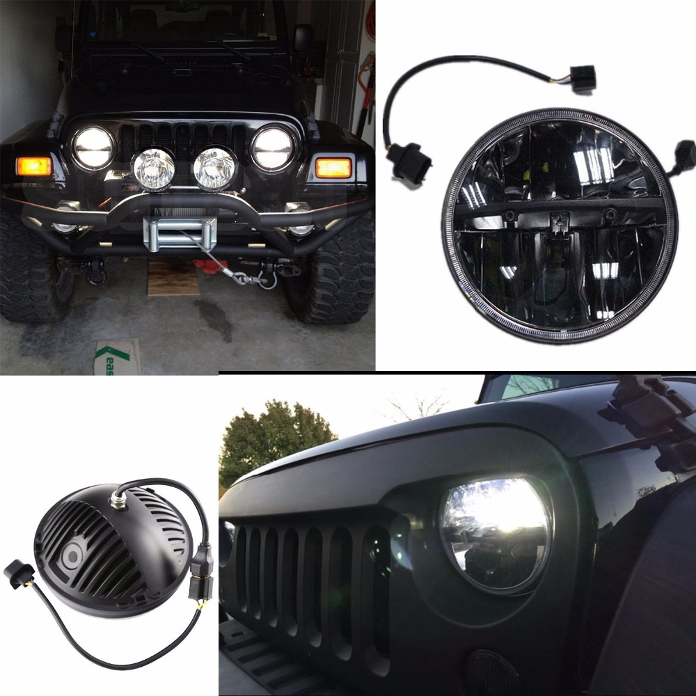 for Lada 4x4 urban Niva Defender 4x4 off road Front Light Round Headlights 7 inch Headlamp Offroad LED Head Driving Light Lamp in Car Light Assembly from Automobiles Motorcycles
