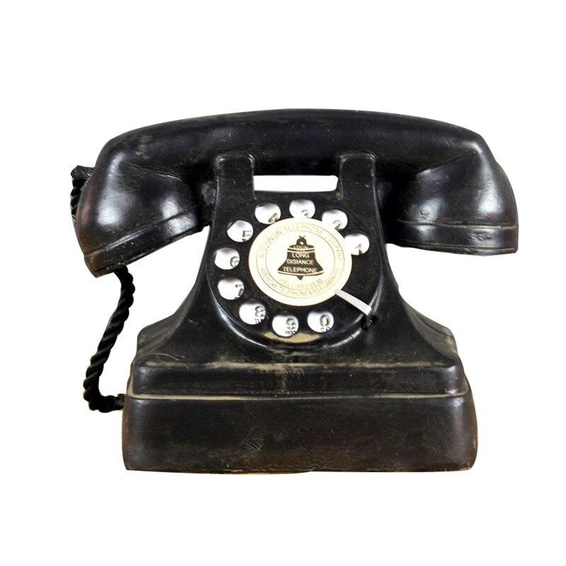 Home Decor Retro Phone Figurines Resin Vintage Telephone