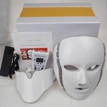 7 Colori Della Luce LED Maschera Per il Viso Con La Pelle del Collo Terapia di Bellezza Trattamento Anti Acne Sbiancamento