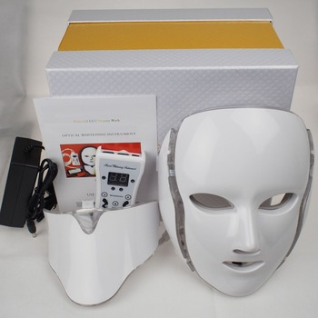 7 Colori Della Luce LED Maschera Per il Viso Con La Pelle del Collo Terapia di Bellezza Trattamento Anti Acne Sbiancamento Della
