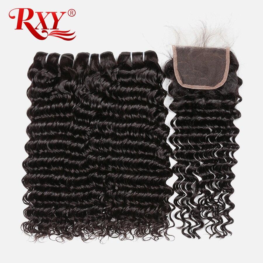 Brazilian Deep Wave Bundles With Closure 3 Bundles Human Hair Weave Bundles With Closure RXY 4x4 Lace Closure Remy Hair 4Pcs/Lot
