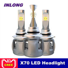 Inlong X70 H4 H7 H1 9005 9006 автомобилей Светодиодный лампа фары H11 H8 D1S D2S D4S hp светодиодный светильник чип 120 W 15600LM фары противотуманные фонари 6000 K