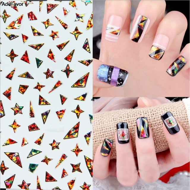 Addfavor 1pcs Star Gl Paper Stickers Decal Broken Cellophane Decals For Nail Art Tools Diy