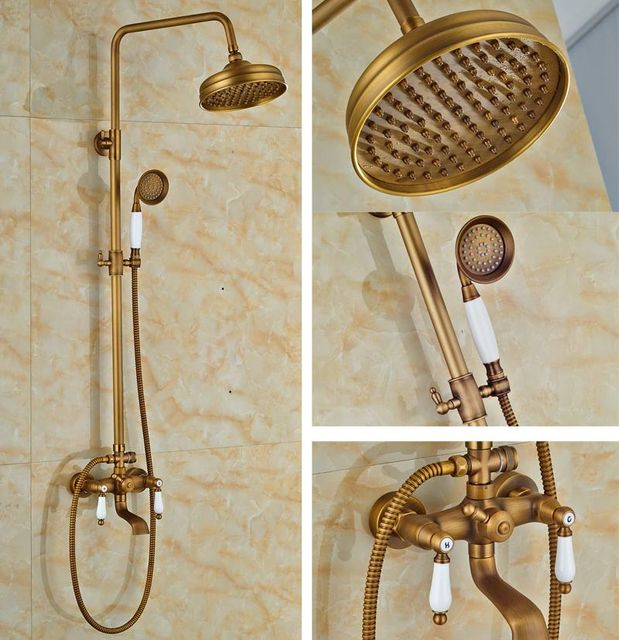 Wall Mount Bathtub Rainfall Shower Faucet Set Brass Antique Shower ...