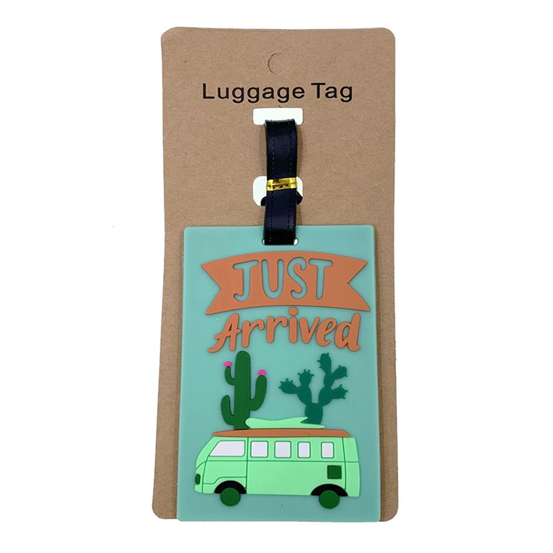 Portable Creative Bus Cactus Luggage Tags Silica Gel Suitcase Cartoon Holder Baggage Boarding Addres Credt Travel Accessories
