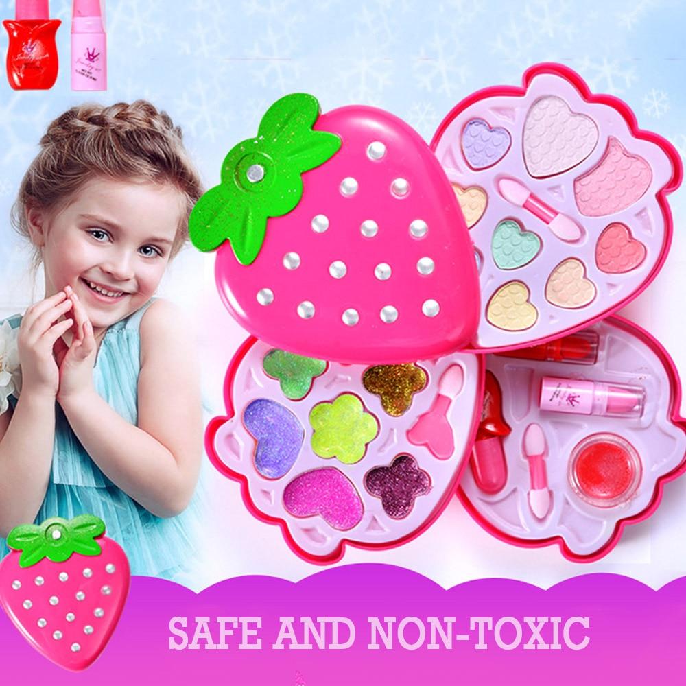 Baby Girls Pretend Play Safe Kids Girls Makeup Set Kit Simulation Dressing  Strawberry Shape Cosmetics Play Sets For Girl Gift