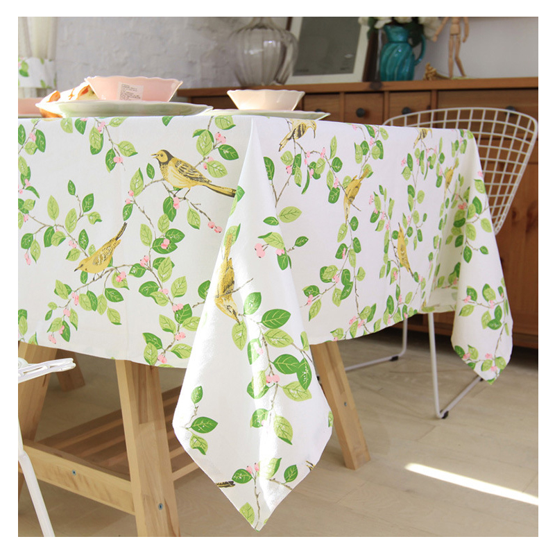 Bird Printed White Table Cloth Toalhas De Mesa Catton Tovaglia Overlays For Weddings Covers Home Textile In Tablecloths From Garden