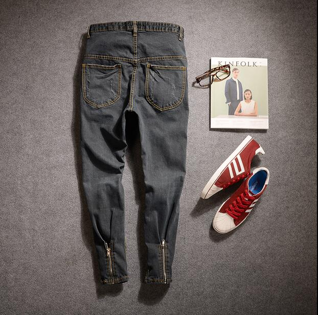 M-3XL!!!  2017   Male feet contracted cultivate one's morality jeans Han edition joker character zipper design tide leisure bea