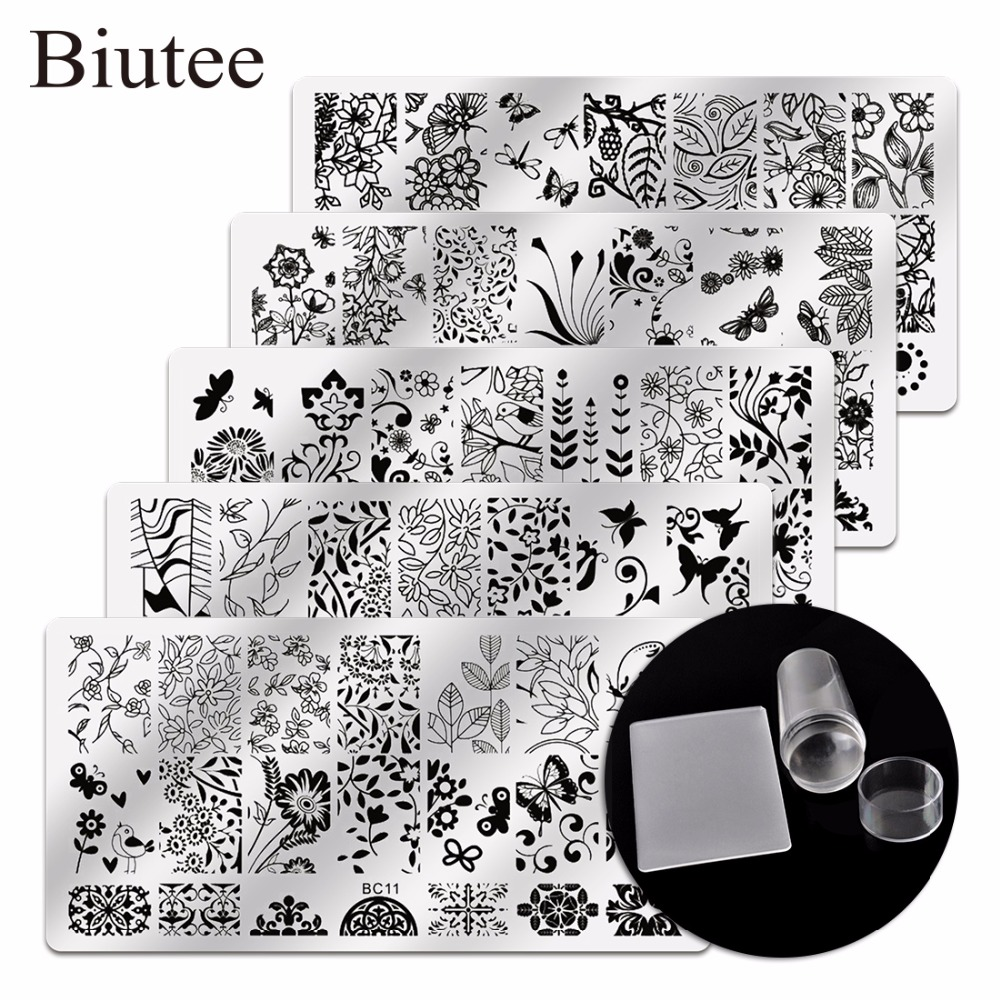 Biutee 5Pcs New Flower Leaves Forest Image Plates Nail Stamping Plates  Clear Jelly Silicone Nail Art Stamper Scraper with Cap new approaches for image retrieval