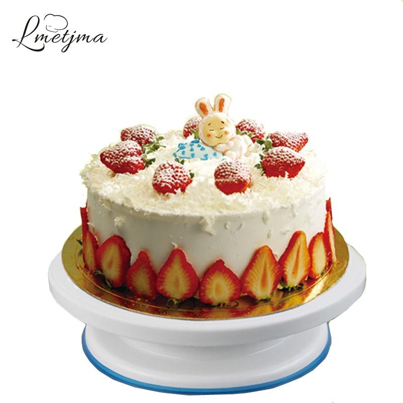 LMETJMA Cake Stand PP Cake Swivel Plate 11.0 Round Rotating Cake Swivel Plate Revolving Decoration Stand Baking Tool KC0323-3