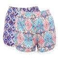 Caliente de La Manera brillante de color Sexy Mujeres Bohemia Floral Delgado Sml XL de Algodón Pantalones Cortos de Verano pantalones cortos sueltos