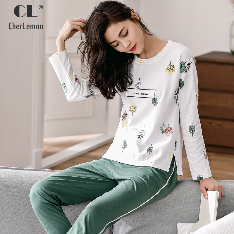 CherLemon Women Cotton   Pajama     Set   Autumn Ladies Pullover Long Sleeved Round Neck Fashion Leaves Printed Pyjama Sleepwear