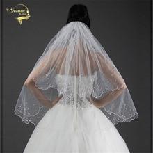 Высококачественная недорогая двухслойная Фата для невесты, аксессуары для невесты, свадебная фата с гребнем с жемчугом, белая слоновая кость, OV3914