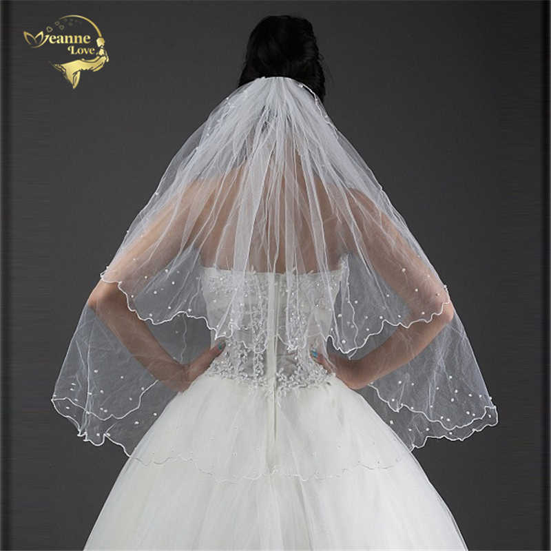 High Quality Cheap Two Layers Bridal Veil BRIDAL ACCESORIES Wedding Veils With Comb with Pearl White Ivory In Stock OV3914
