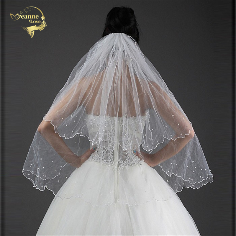 Cheap Two Layers Bridal Veil BRIDAL ACCESORIES Wedding Veils With Comb Pearl OV3914