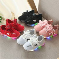 2019 New Spring and Autumn Children LED Lights Shoes Male and Girl Lighting Sports Shoes Casual Shoes Non slip Baby Shoes