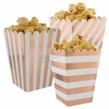 144pcs Foil Rose Popcorn Box Metallic STRIPED Sweet Cantainer Wedding Birthday Baby Shower Party Candy Buffet Paper Boxes