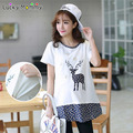 Funny Nursing Top Breastfeeding Tops Clothing T-Shirts for Pregnant Women Floral Maternity Shirts Summer Pregnancy Clothes