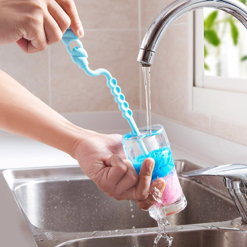 Cup brush Rotate the long handle cup glass bottle cleaning brush kitchen
