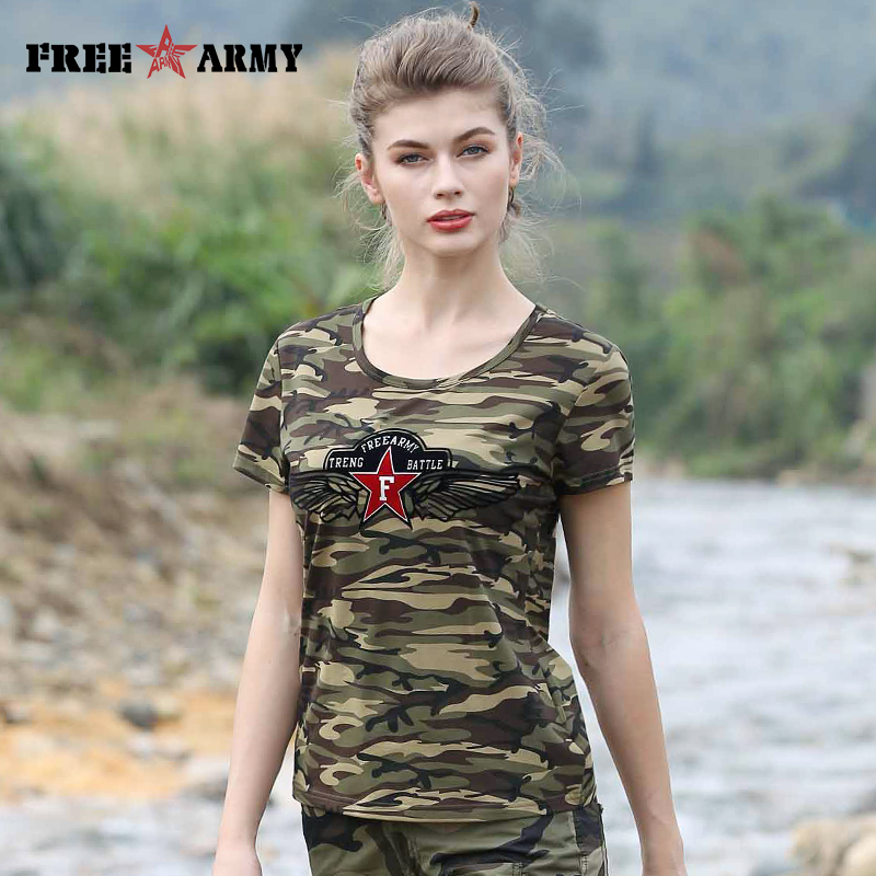 215aea7da FreeArmy Brand Camouflage Tshirt Quality Women Lycra Cotton Plus Size Star t  shirts Girls Tee Shirt Female Summer Tops Tees